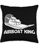 Funny Airboat Boating Swamp Boat Boaters Clothes Cool Gift for Men Dad Airboat Racing Aircraft Boat Throw Pillow, 16x16, Multicolor