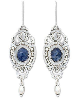Handcrafted Mexican Sterling Silver and Sodalite Earrings