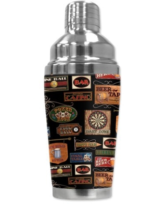 "Mugzie ""Man Cave"" Cocktail Shaker with Insulated Wetsuit Cover , 16 oz, Black"