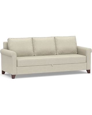 Cameron Roll Arm Upholstered Pull-Up Platform Sleeper Sofa, Polyester Wrapped Cushions, Basketweave Slub Oatmeal