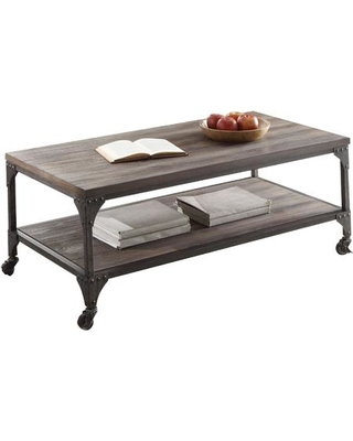 """Gorden Collection 81445 48"""" Coffee Table with Locked Caster Legs Rectangular Shape Industrial Style Bottom Shelf Engineered Wood and Metal Frame"""