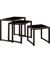 Kaine Square Modern Nesting Side Tables Espresso - Furniture of America, Dark Brown