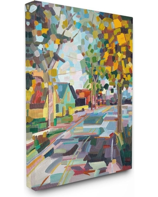 """Stupell Industries 24 in. x 30 in. """"Geometric New England Fall Scene"""" by Third and Wall Printed Canvas Wall Art, Multi-Colored"""