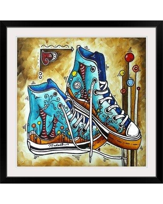 """Great Big Canvas 'Whimsical Shoes' by Megan Duncanson Graphic Art Print 1906997 Size: 38"""" H x 38"""" W x 1"""" D Format: Black Framed"""