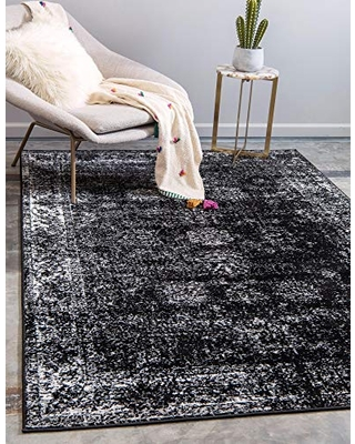 Unique Loom Sofia Collection Area Traditional Vintage Rug, French Inspired Perfect for All Home Décor, 5' 0 x 8' 0 Rectangular, Black/Ivory