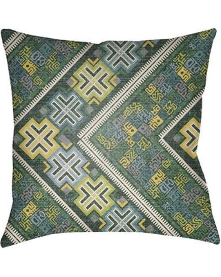 "Bloomsbury Market Kalish Indoor/Outdoor Throw Pillow BLMS4457 Size: 20"" H x 20"" W Color: Kelly Green/Teal"