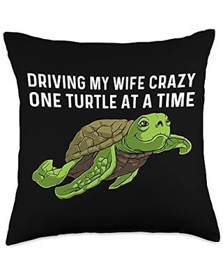 Best Tortoise Reptile & Bony Shell Species Designs Funny Gift for Men Papa Sea Turtle Land Water Animal Throw Pillow, 18x18, Multicolor