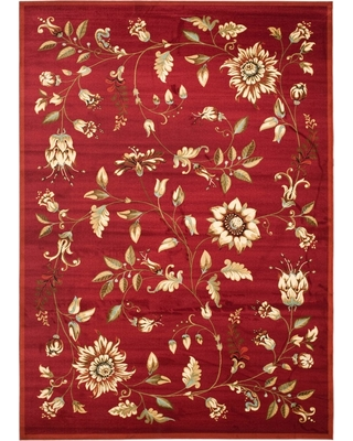 "Red Floral Loomed Area Rug 6'7""X9'6"" - Safavieh"