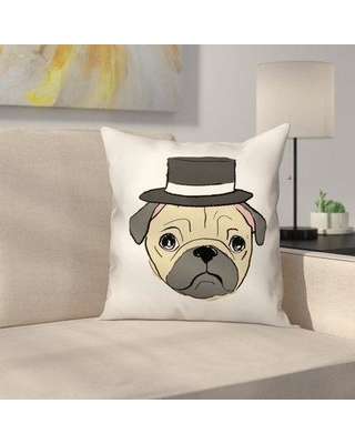 "East Urban Home Pug with Top Hat Throw Pillow in Throw Pillow EUNM5059 Size: 20"" x 20"""