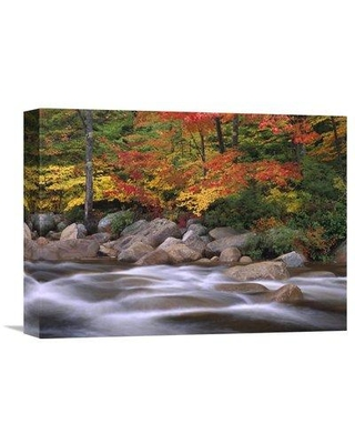 """East Urban Home 'Autumn Along Swift River White Mountains National Forest New Hampshire' Photographic Print on Wrapped Canvas GCS-396839- Size: 12"""" H x 16"""" W x 1.5"""" D"""