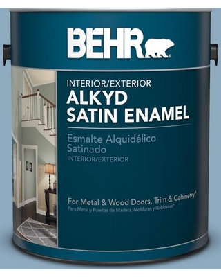 BEHR 1 gal. #bic-10 Cotton Denim Satin Enamel Alkyd Interior/Exterior Paint
