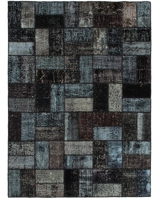 """One-of-a-Kind Yayla Hand-Knotted 2010s Kosak Black/Green 4'10"""" x 6'8"""" Wool Area Rug"""