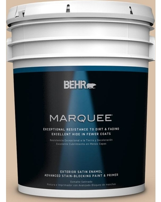BEHR MARQUEE 5 gal. #S240-3 Ash Blonde Satin Enamel Exterior Paint and Primer in One