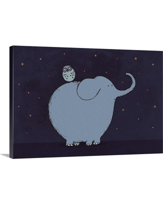 """GreatBigCanvas """"Owl and Elephant""""by Carla Martell Canvas Wall Art, Multi-Color"""