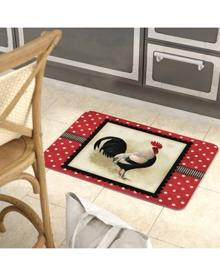 Twila Polka Dot Speckled Rooster Kitchen Mat August Grove