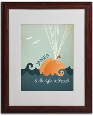 """Trademark Fine Art """"James and the Giant Peach"""" by Megan Romo Matted Framed Graphic Art MR0015- Size: 20"""" H x 16"""" W x 0.5"""" D Frame: Brown - Beveled"""