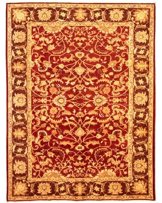 """One-of-a-Kind Adrihana Hand-Knotted 2010s Chobi Red/Light Brown 8'10"""" x 11'10"""" Wool Area Rug"""