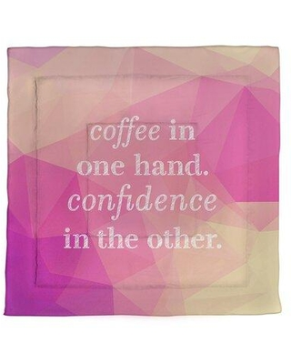 East Urban Home Faux Gemstone Coffee & Confidence Quote Microfiber Comforter - King Size EBJZ7347 Size: Queen Comforter Color: Pink/Ivory