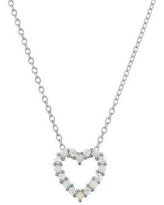 Belk & Co. Silver 8 Lab Created Opal and 8 Lab Created White Sapphire Pendant Necklace in Sterling Silver