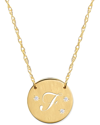 Women's Jane Basch Designs Pierced Initial Diamond Pendant Necklace