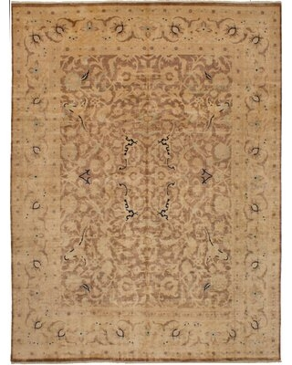 """One-of-a-Kind Quintavis Hand-Knotted 2010s Ushak Beige 8'10"""" x 11'10"""" Wool Area Rug"""
