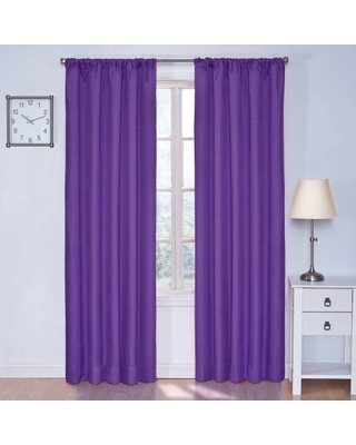 """ECLIPSE Kendall Thermal Insulated Single Panel Rod Pocket Darkening Curtains for Living Room, 42"""" x 84"""", Purple"""