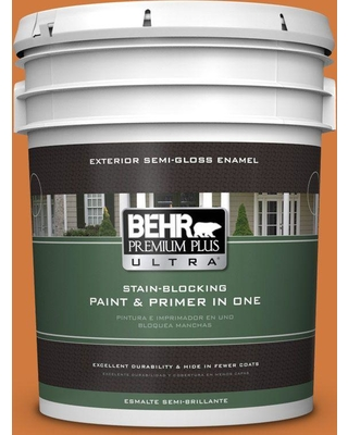 BEHR Premium Plus Ultra 5 gal. #250D-6 Maple Leaf Semi-Gloss Enamel Exterior Paint and Primer in One