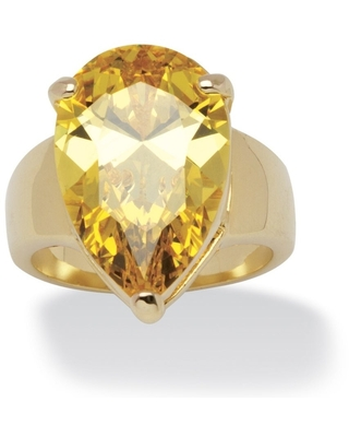 Yellow Gold-plated Yellow Cubic Zirconia Solitaire Ring