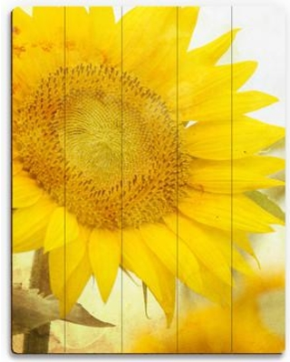 "Click Wall Art Wood Slats Sunflower Photographic Print on Plaque FLR0000091PLK Size: 14"" H x 11"" W x 1"" D"