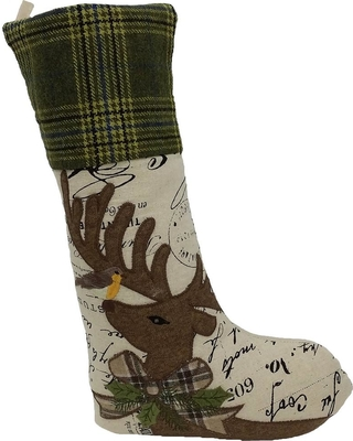 Manor Luxe Reindeer With Applique Suede 20 in. Easy Care Polyester Stocking, Multi