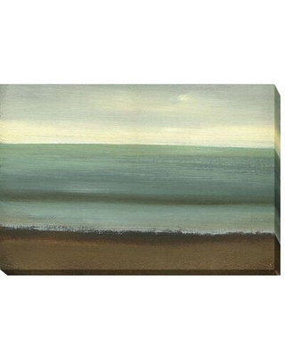 """Artistic Home Gallery 'Calm Sea' by Caroline Gold Framed Painting Print Wrapped Canvas, Canvas & Fabric in Brown/Green, Size 16"""" H x 24"""" W x 1.5"""" D"""