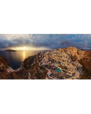 """Marmont Hill 'Santorini Sunset' Painting Print on Wrapped Canvas MH-AIRPANO-19-C- Size: 12"""" H x 24"""" W x 1.5"""" D"""