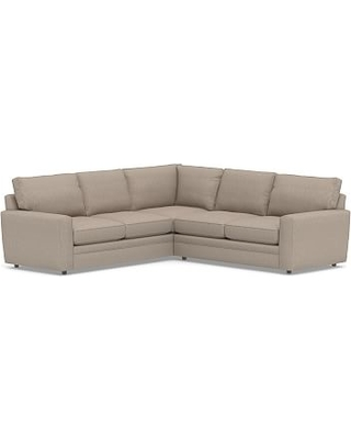 Pearce Square Arm Upholstered 2-Piece L-Shaped Sectional, Down Blend Wrapped Cushions, Sunbrella(R) Performance Sahara Weave Mushroom