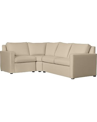 Cameron SQ Arm Slipcovered Right Arm 3-Piece Wedge Sectional, Polyester Wrapped Cushions, Performance Everydayvelvet(TM) Buckwheat