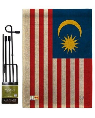 """Breeze Decor Breeze Decor Gs108259-Db Malaysia Burlap Flags Of The World Nationality Impressions Decorative Vertical 13"""" X 18.5"""" Double Sided Garden Flag Set Metal Pole Hardware BD-CY-GS-108259-IP-DB-D-US15-BD"""