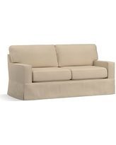 "Buchanan Square Arm Slipcovered Loveseat 77.5"", Polyester Wrapped Cushions, Twill Parchment"