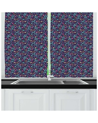 Meadow Cartoonish Design Floral Field with Wild Flowers Springtime Composition Kitchen Curtain East Urban Home