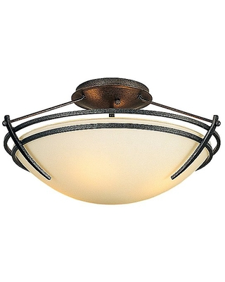 Presidio Tryne 15 Inch Semi-Flush Ceiling Fixture by Hubbardton Forge - Color: Beige - Finish: Brown - (124412-1005)