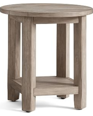 Benchwright Round End Table, Gray Wash