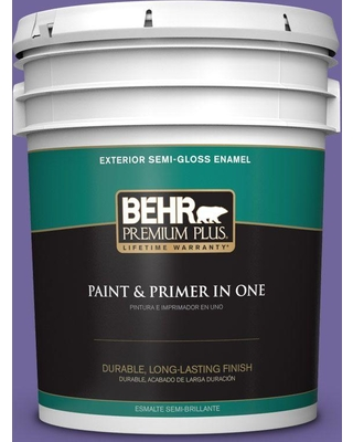 BEHR Premium Plus 5 gal. #630B-7 Pandora Semi-Gloss Enamel Exterior Paint and Primer in One