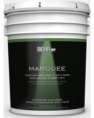BEHR MARQUEE 5 gal. #W-D-610 White Glove Semi-Gloss Enamel Exterior Paint and Primer in One