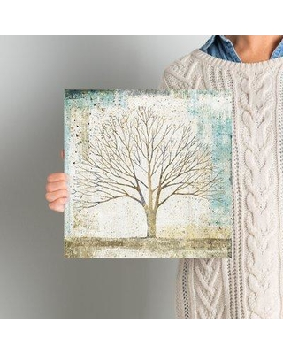 """East Urban Home 'Solitary Tree Collage' Painting Print on Wrapped Canvas ESTN7963 Size: 12"""" H x 12"""" W x 0.75"""" D"""