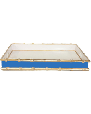 """20"""" Bamboo-Style Serving Tray - Blue/Gold - Dana Gibson"""