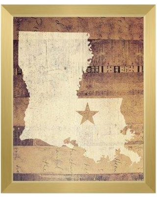 """Click Wall Art 'Louisiana Rustic' Framed Graphic Print Art on Canvas in Brown/Tan GRU0000437FRM Size: 11"""" H x 14"""" W Format: Gold Framed"""