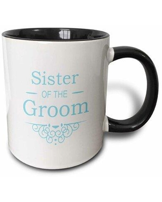 """Winston Porter Robson Mother of The Bride Coffee Mug, Capacity: 11 oz, Theme: Sister of the Groom, Ceramic in Black/Blue, Size 4""""H X 3""""W X 4""""D"""