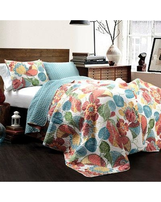 Deals On August Grove Legere Reversible Quilt Set Fabric Polyester Polyfill 100 Cotton In Orange Blue Size King Quilt 2 Shams Wayfair