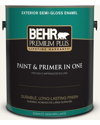 BEHR PREMIUM PLUS 1 gal. #400E-1 Mirage White Semi-Gloss Enamel Exterior Paint and Primer in One