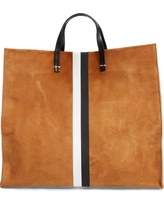 Clare V. Simple Stripe Suede Tote - Brown