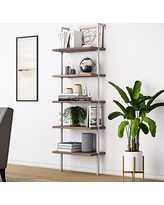 Nathan James 65502 Theo Wood Ladder Bookcase Rustic Wood and Metal Frame, White/Brown