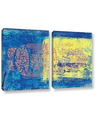 """ArtWall Blue With Stencils by Elena Ray 2 Piece Painting Print on Wrapped Canvas Set 0ray061b Size: 32' H x 48"""" W"""